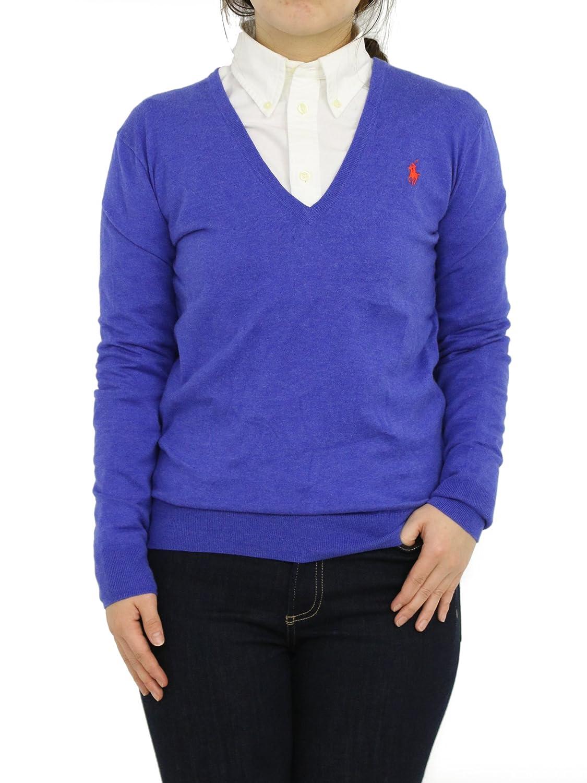(ポロ ラルフローレン) POLO Ralph Laurenラルフローレン レディース Vネック コットン セーター 無地 ワンポイント 0102591 [並行輸入品] B06XG2GK3Q US M (日本L相当)|Hyannis Blue Hyannis Blue US M (日本L相当)