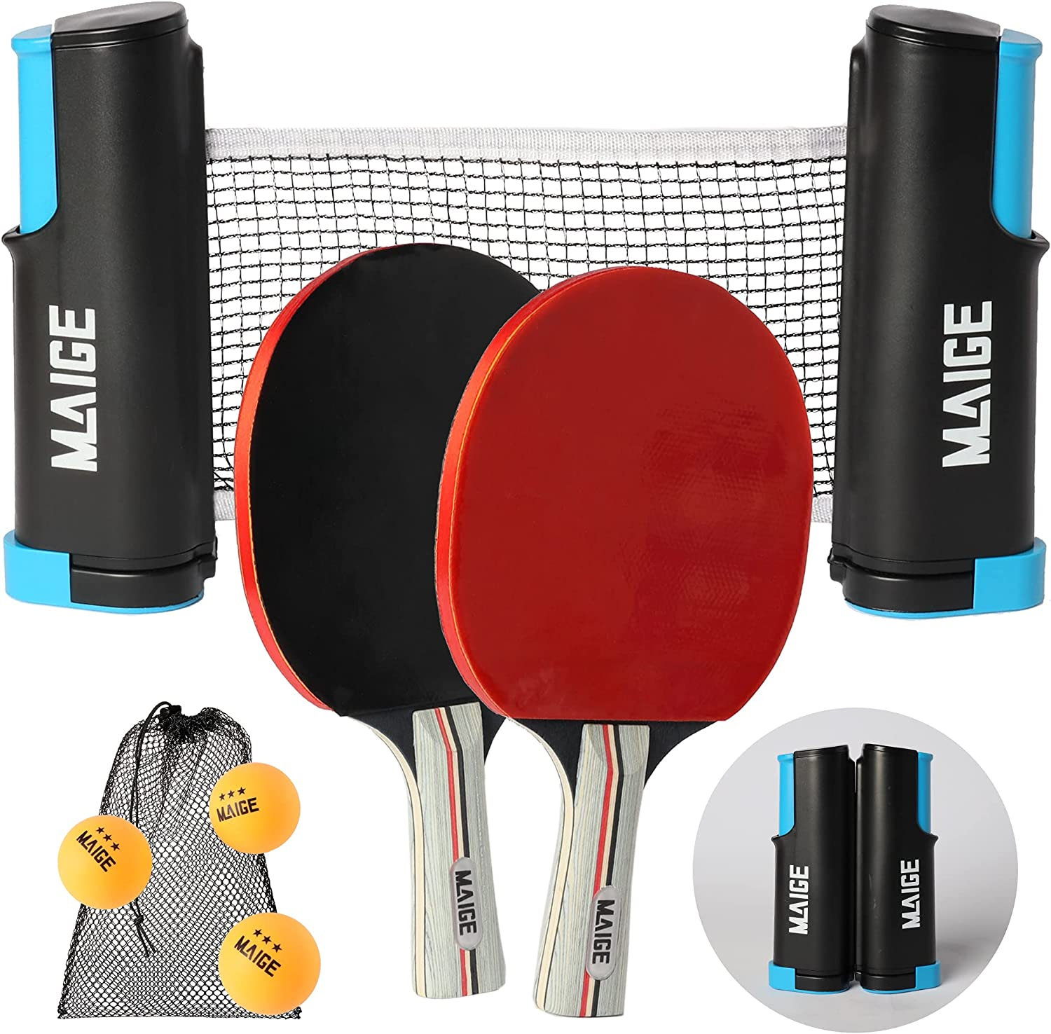 Maige Ping Pong Paddle Set   Table Tennis Paddle Set with Retractable Ping Pong Net   Portable Case and 3 Ping Pong Balls   Table Tennis Set for Indoor or Outdoor Play   Attach to Any Tabletop Surface : Sports & Outdoors