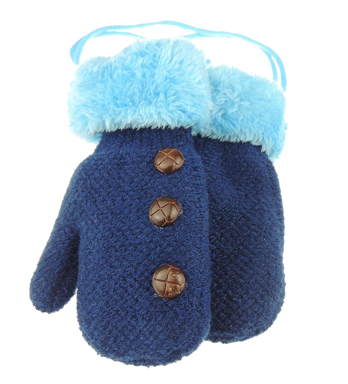 Muffole da neve per bambini foderate in pile caldo invernale con bottoni Grey taglia unica
