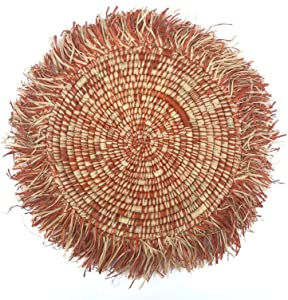 "13"" - 14"" Handmade Fringed Basket Wall Hanging Raffia Sweet Grass Straw 100% Authentic Made by Women in Africa Boho Art (Orange)"