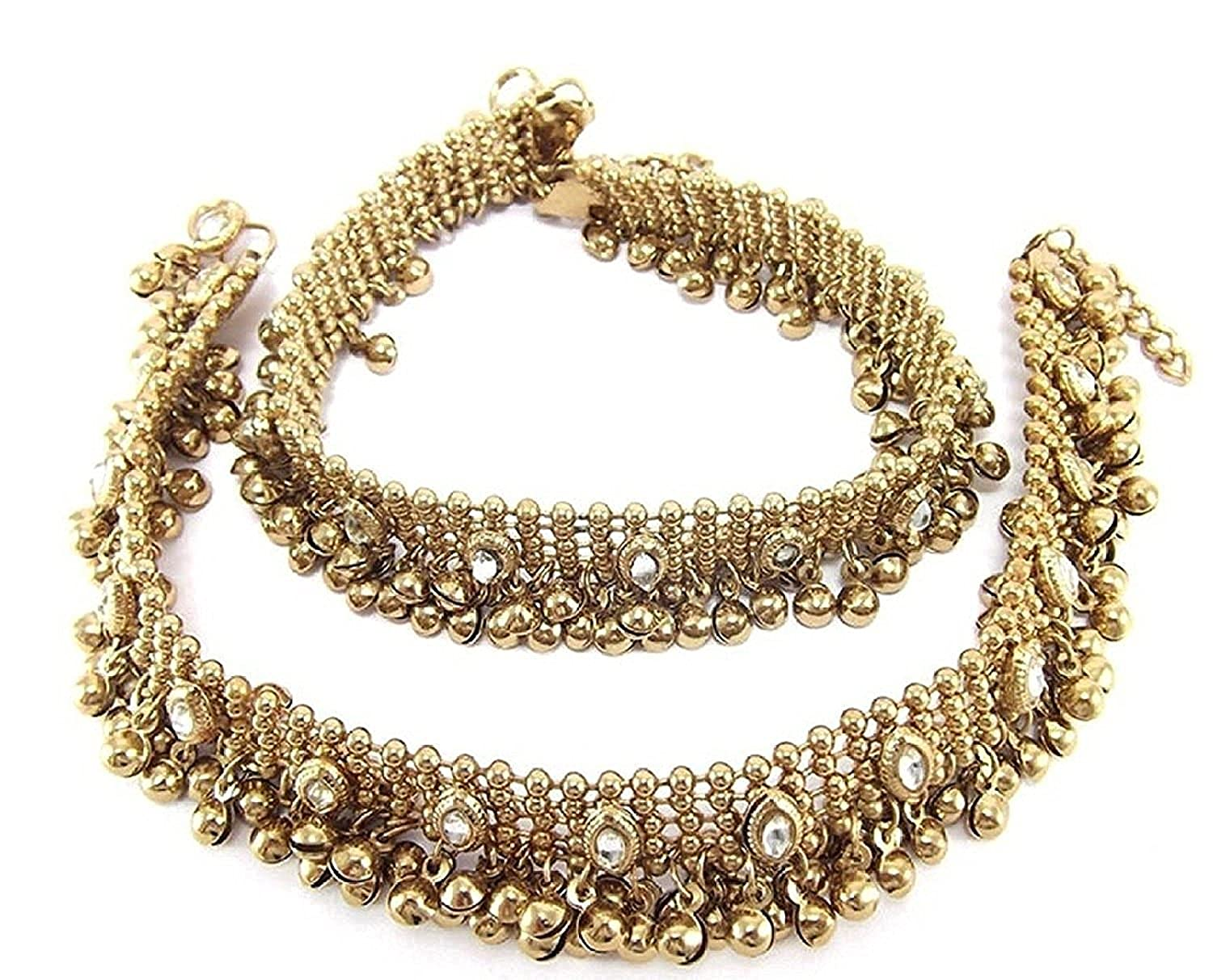 Charms Golden Ethnic Antique Kundan Studded Alloy Anklet cr0245eef