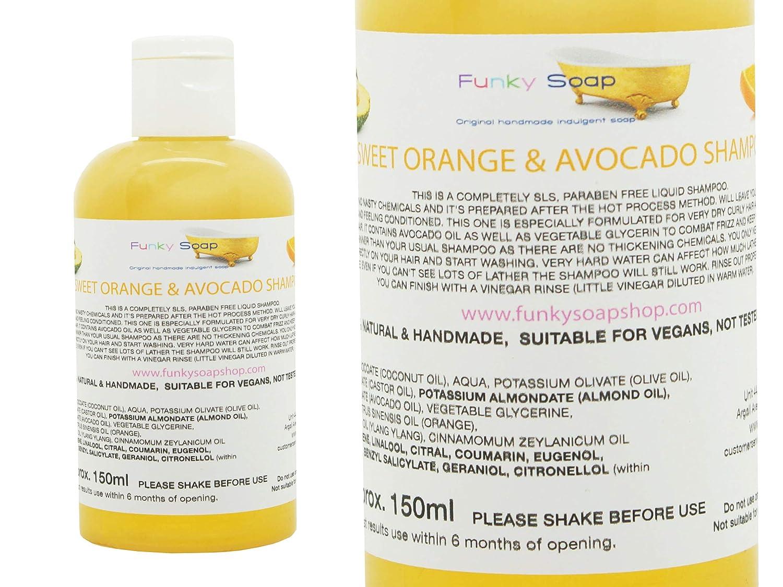1 BOTTIGLIA ARANCIA DOLCE & Avocado Olio Shampoo per AFRO, Mixed Race & capelli ricci 150ml 100% REALIZZATA A MANO NATURALE SENZA SLS Funky Soap