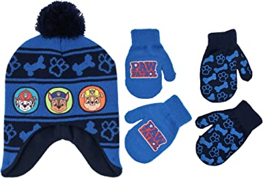 Nickelodeon Boys Toddler Paw Patrol Character Pups Rule Hat and Mittens Set Age 2-4 blue//red