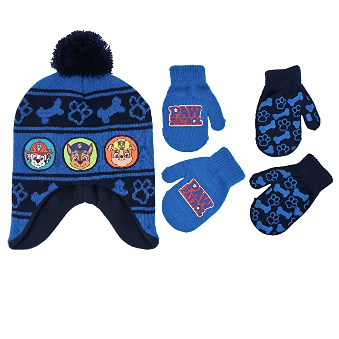 6c54c475e Nickelodeon Little Boys Paw Patrol Character Hat and 2 Pairs of Mittens or  Gloves Cold Weather Set, Age 2-7
