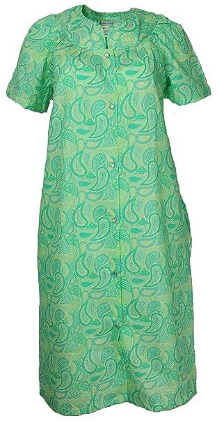 Elegant Emily Women\'s Plus Size Cotton Blend House Dress Duster Robe, Snap  Front, Pockets