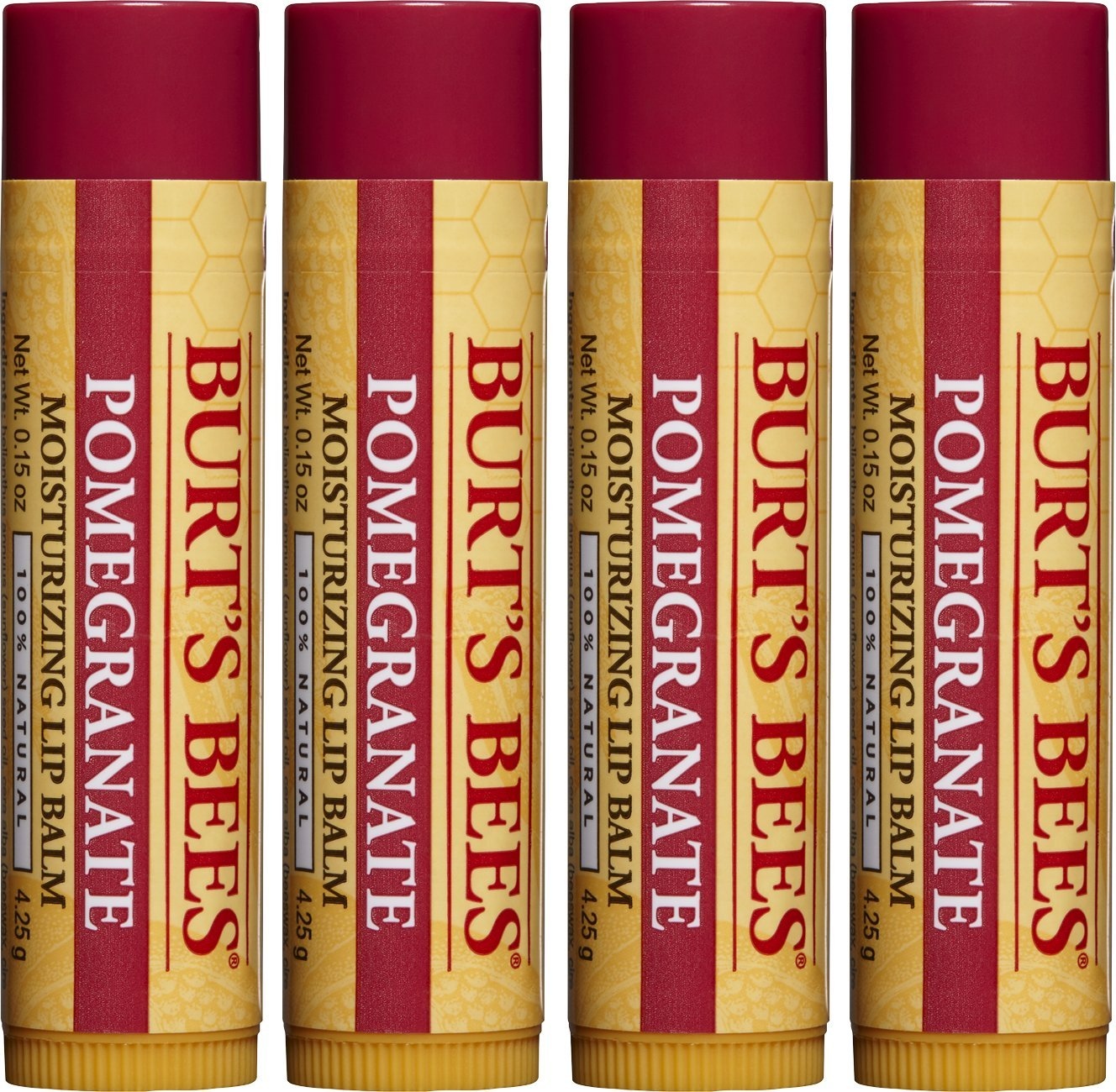 Burt's Bees 100% Natural Moisturizing Lip Balm, Pomegranate with Beeswax and Fruit Extracts - 4 Tubes