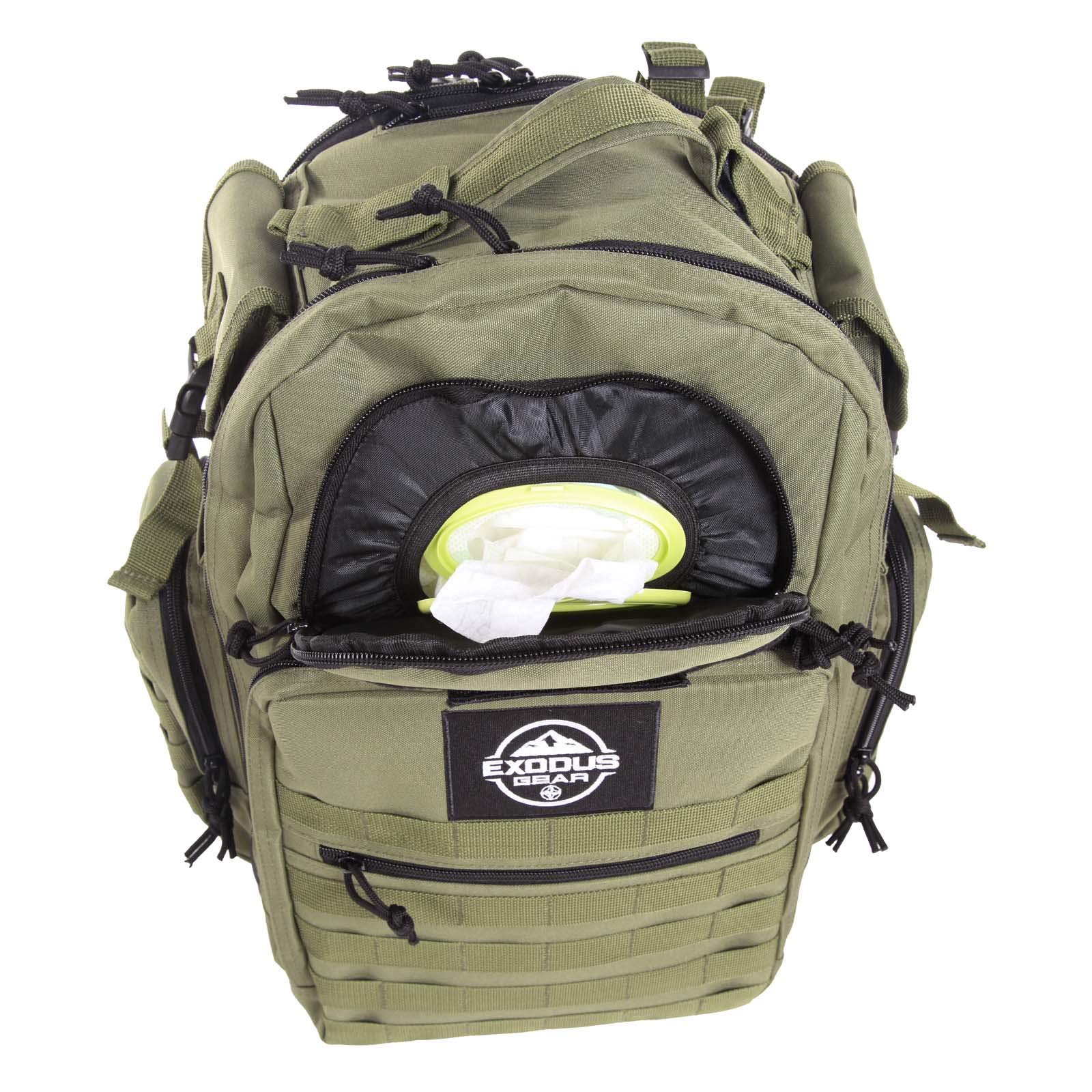 Diaper Bag Backpack by Exodus Gear + Adventure Diaper Bag with Changing Pad + Daddy Diaper Bag for Men and Woman + Hiking Diaper Bag + Dad Diaper Bag + Unisex Diaper Bag + Baby Care (Green) by Exodus Gear (Image #3)