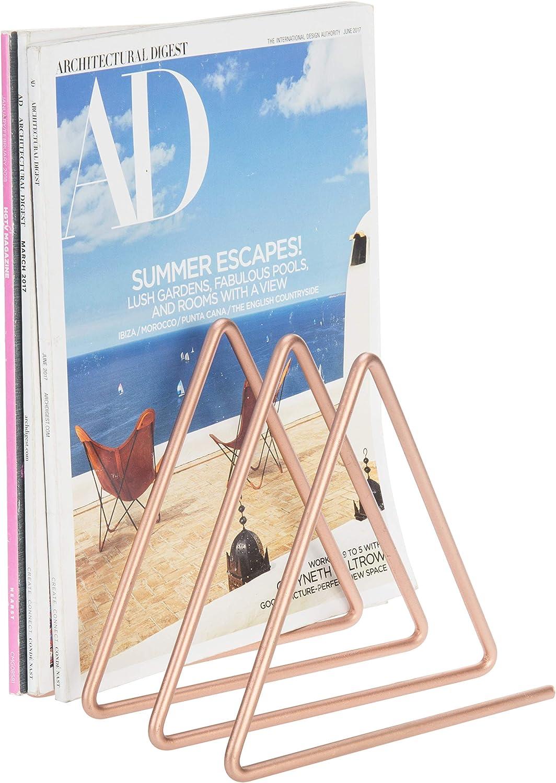 MyGift 3-Slot Rose Gold-Tone Desktop Triangular Metal Magazine/File Sorter