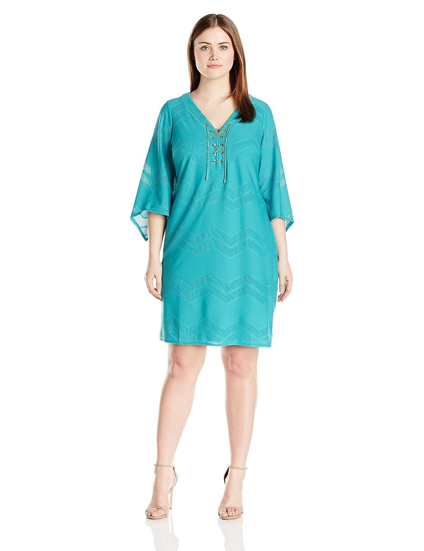London Times Women's Plus-Size Chevron Mesh Knit Tunic with Lace Up Front London Times Plus-Size Women' s Dresses L1575W