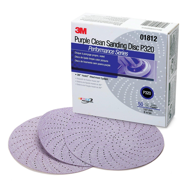 3M 01812 Hookit 334U Purple 6'' P320C Grit Clean Sanding Disc