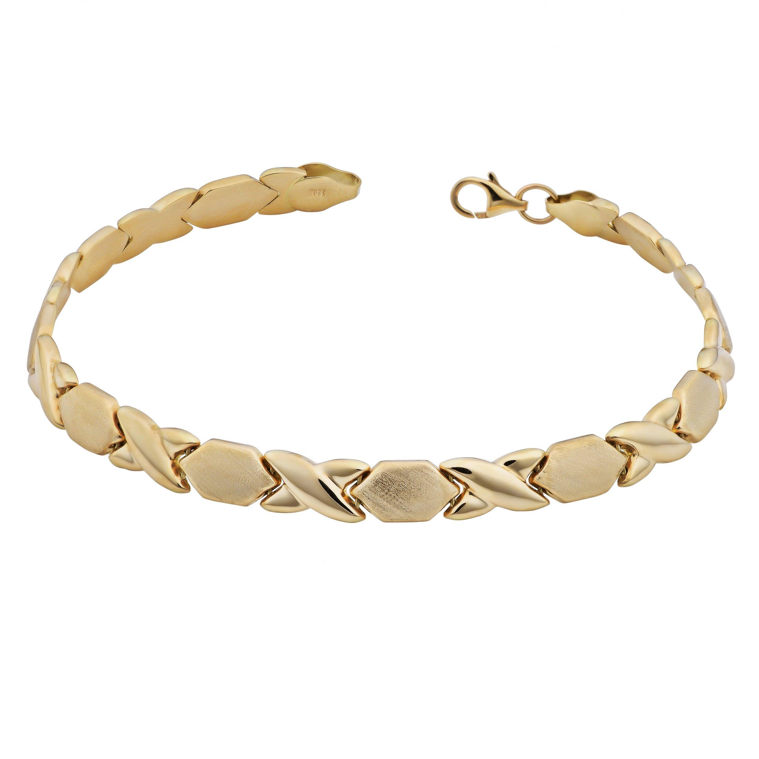 Kooljewelry 10k Yellow Gold 6 mm XO Link Bracelet (7.5 inch)