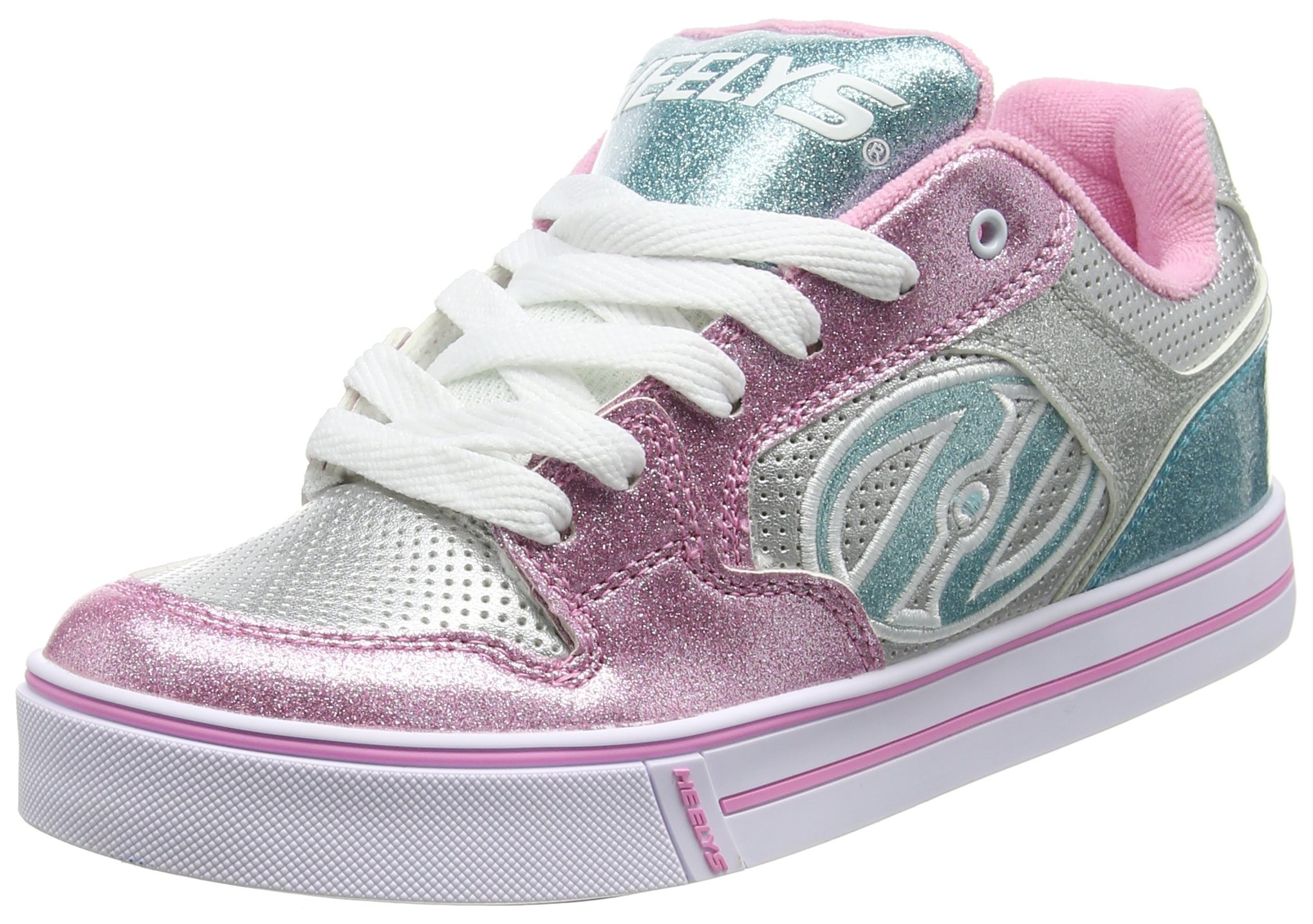 Heelys Girl's Motion Plus (Little Kid/Big Kid/Adult) Silver/Pink/Blue/Glitter Shoe by Heelys (Image #1)