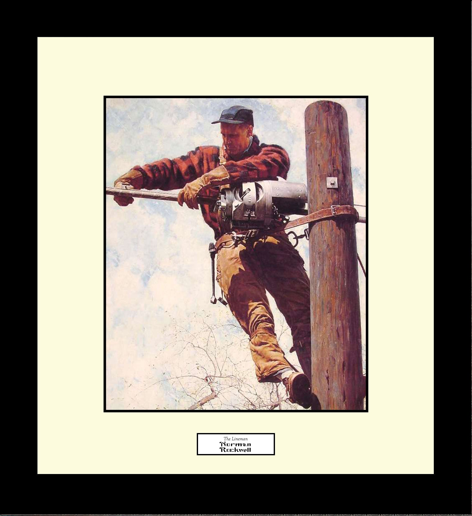 Norman Rockwell THE LINEMAN Framed Electrical Lineman Wall Hanging Art Gift