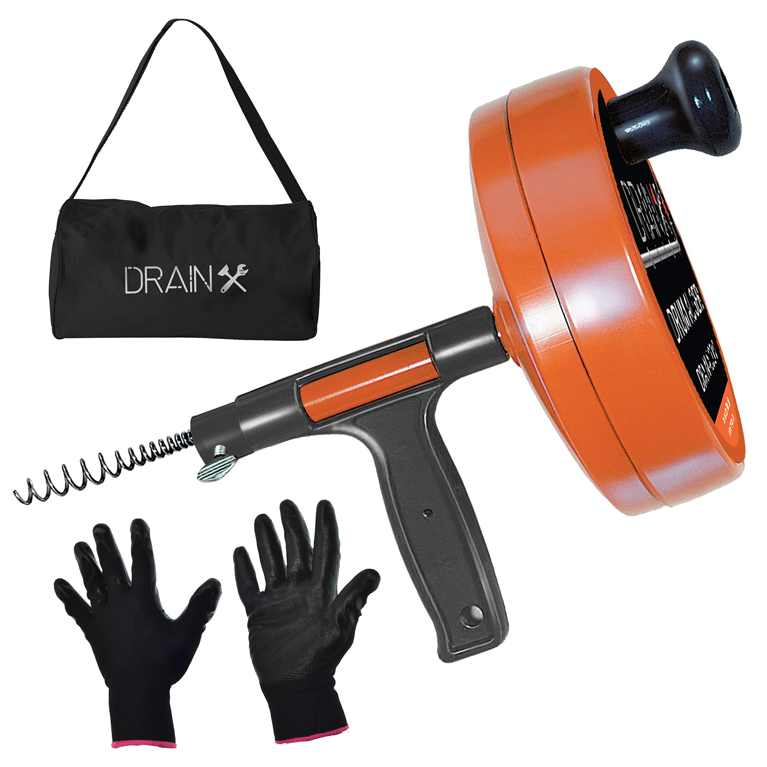 Drainx Pro Steel Drum Auger Plumbing Snake   Heavy Duty 25-Ft Drain Snake Cable with Work Gloves and Storage Bag