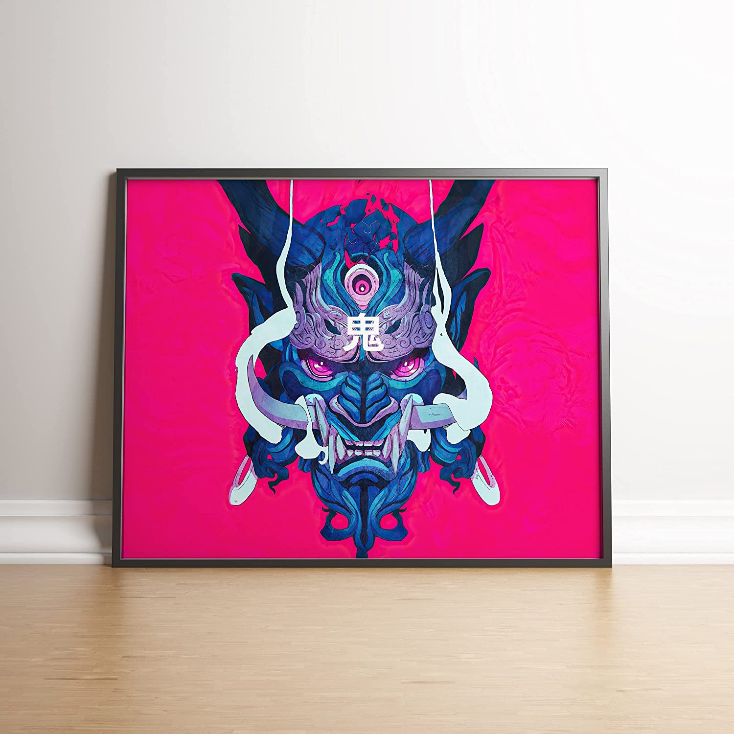 Poster Compatible With Bright Japanese Oni Mask Demon Art, Canvas Wall Decor, Design, Wall Print for Interior, Unframed, Size - 8,5x11 11x17 18x24 24x32 24x36