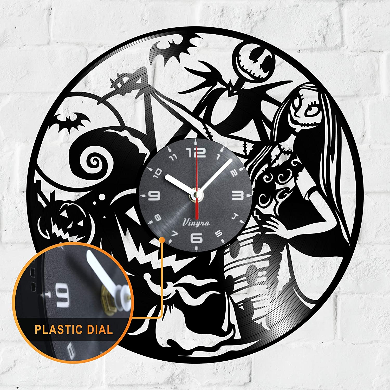"Vinyra Vinyl Wall Clock compatible with Jack Skellington and Sally Nightmare Before Christmas Disney Cartoon themed room - Vinyl Clock Gift Idea Nursery Decor - 12"" LP Record Clock Black"