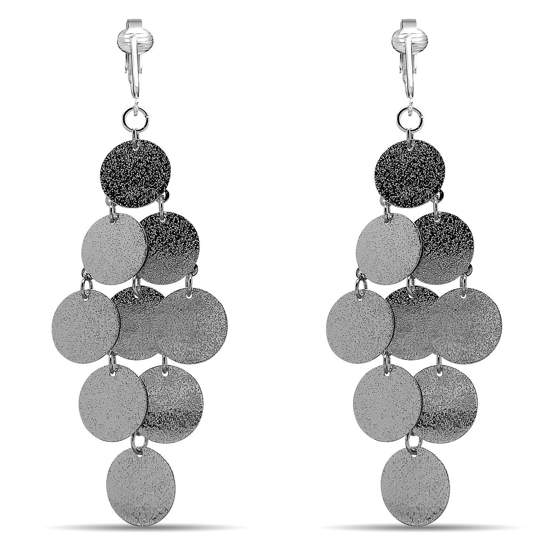 Womens Clip Earrings Silver, Silver Earrings Clip On for Women, Girls, Lightweight Silver Clip Earrings (Silver Round Glitter Dangle)