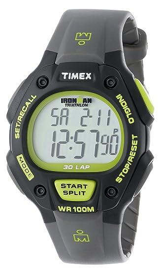 f2bbbad7b75a Timex Men s T5K692 Ironman Classic 30 Full-Size Gray Black Green Resin Strap