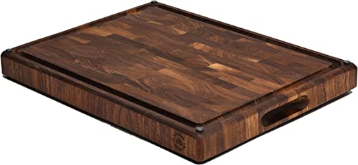 End Grain Walnut Wood Butcher Block with Built-in Compartments - End Grain Wood