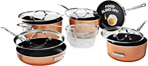 Gotham Steel Stackmaster Pots & Pans Set – Stackable 10 Piece Cookware Set Saves 30% Space, Ultra Nonstick Cast Texture Coating,Includes Fry Pans,, Saucepans, Stock Pots and More – Dishwasher Safe