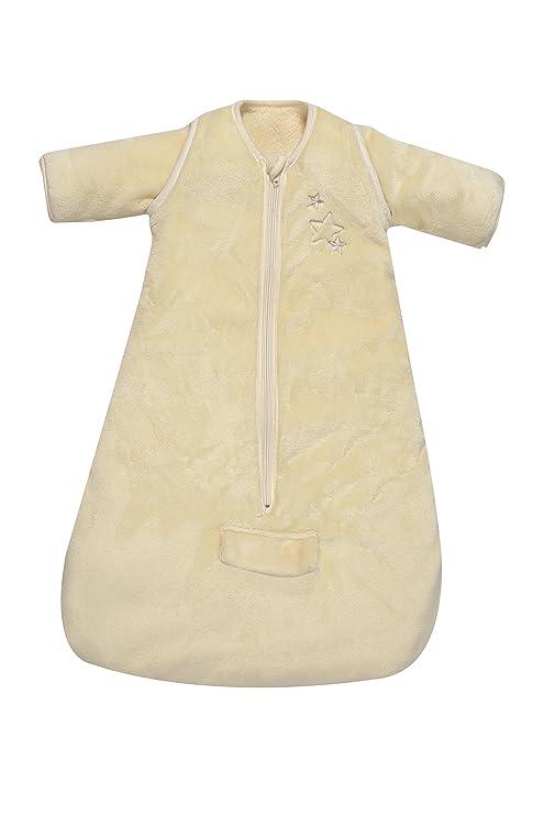 PMP saco de dormir de invierno con paso cinturón/mangas extraíbles microfibra Ecru 65 cm