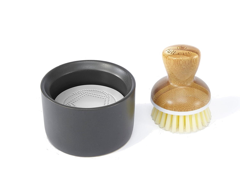Full Circle Bubble Up Ceramic Soap Dispenser & Bamboo Dish Brush, White/Gray