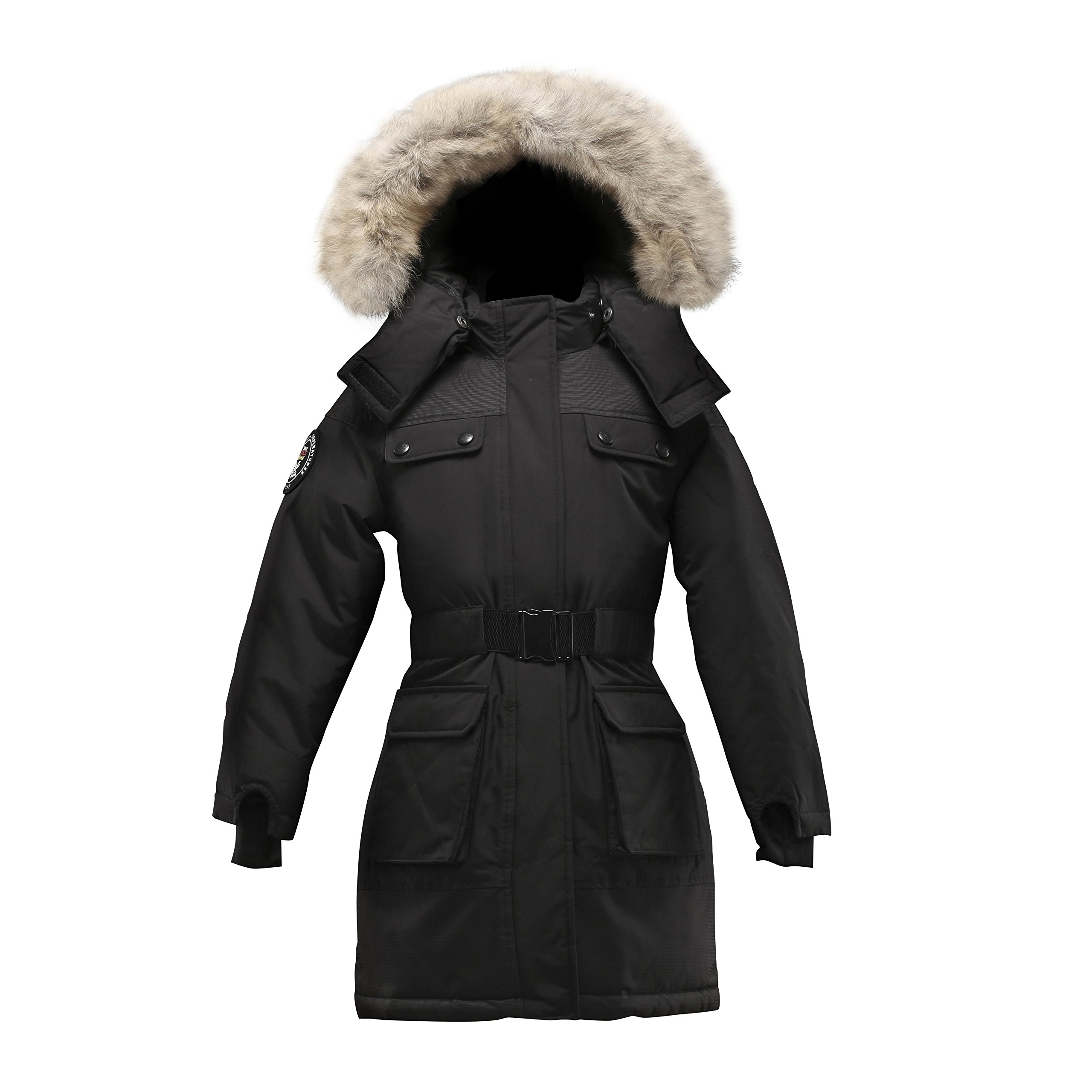 Triple F.A.T. Goose Arkona Girls Down Jacket Parka With Real Coyote Fur (8, Black)