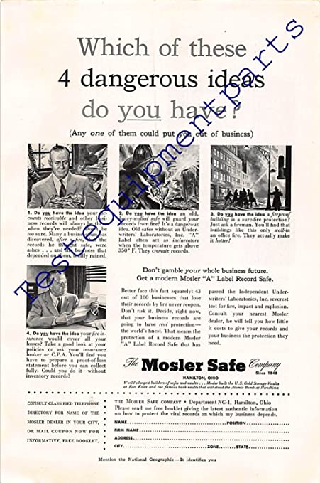 Amazon com: Print Ad 1953 The Mosler Safe Company: Posters & Prints
