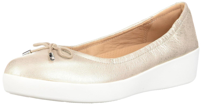 FitFlop Women's Superbendy Ballerina Ballet Flat B0781VY1ZV 5 B(M) US|Metallic/Silver