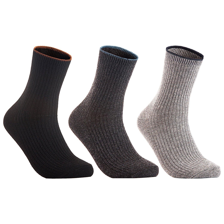 Lian LifeStyle Women's 3 Pairs Wool Blend Socks HR1612 Casual Solid Size 6-9 (Black, Dark Grey, Grey)