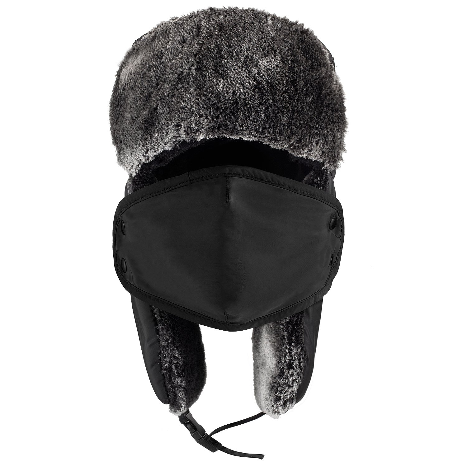 Amazon.com   Mysuntown Unisex Winter Trooper Hat Hunting Hat Ushanka Ear  Flap Chin Strap and Windproof Mask (Black)   Sports   Outdoors 025f052b752