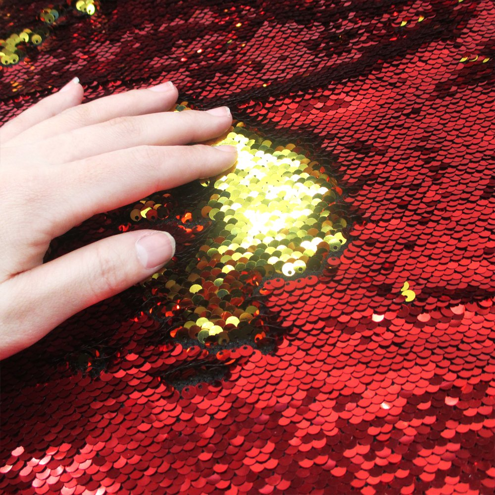 Sequins Sewing Fabric Mermaid Flip Up Sequin Reversible Sparkly Fabric 1 Yards(36''x47'') For Dress Clothing Making Home Decor (Red&Green) David accessories 2Y1053885027