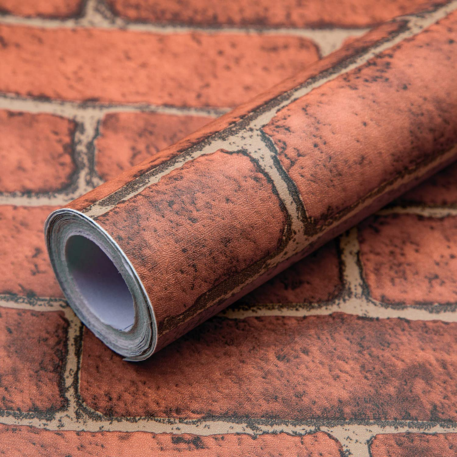 Woltop 3D Brick Wallpaper Peel and Stick Red Style 2-17.7 x 118 inches 3D Removable, Decorative Faux Brick Wallpapers for Wall Décor