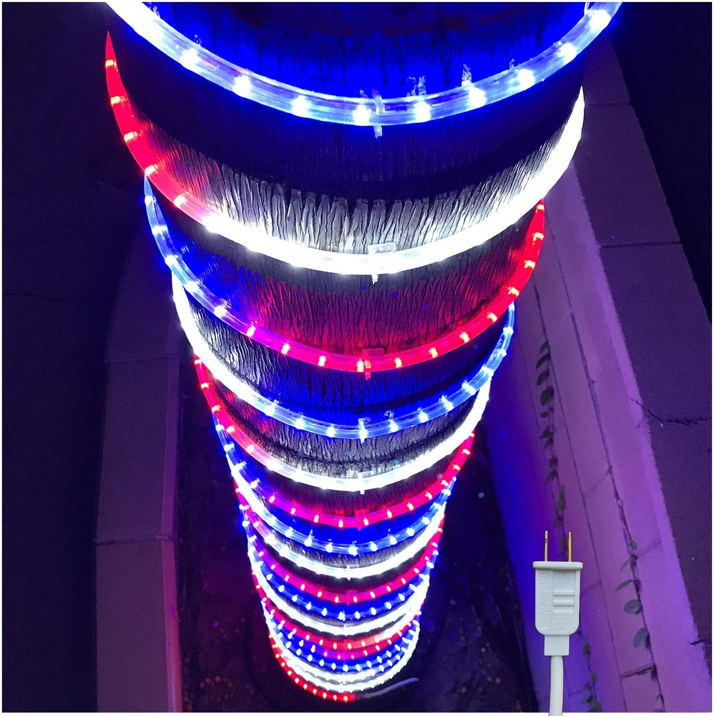 Russell Decor 30ft/9m Led Rope Lights Lamps Kit Indoor Outdoor Decorative Lighting for Patriotic 4th of July Memorial Day Decor Party Trees Patio Deck Flexible String Tube Lights- Blue Red White
