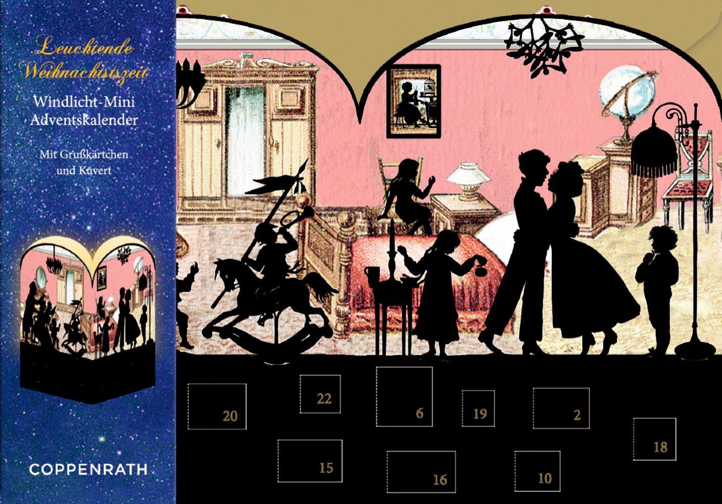 Oktober 2016 Barbara Behr Coppenrath B019BWT4YU Weihnachten Nostalgische Scherenschnitte: 4 Motive x 6 Ex Kalender – 26 Windlicht-Mini-Adventskalender-Sortiment