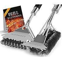 EUROXANTY/® Cepillo para Limpieza barbacoas Desincrusta la Grasa 29 cm de Largo Cepillo con p/úas met/álicas Cepillo con Mango ergon/ómico Cepillo de PVC