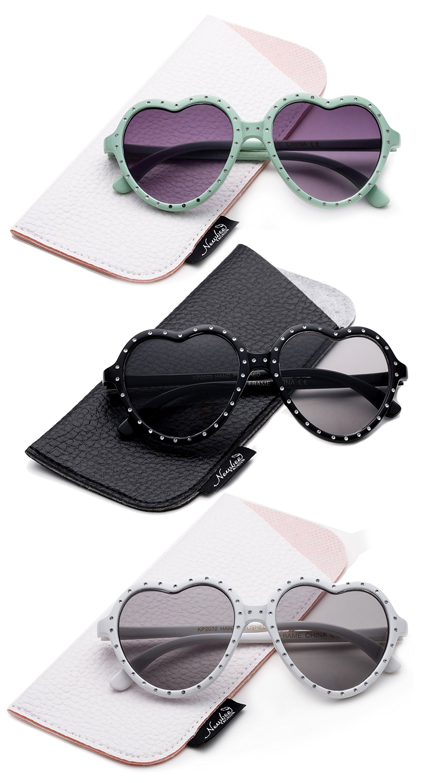 Girls Toddler Bling Bling Polka Dot Heart Shaped Design Fashion Cute Sunglassess