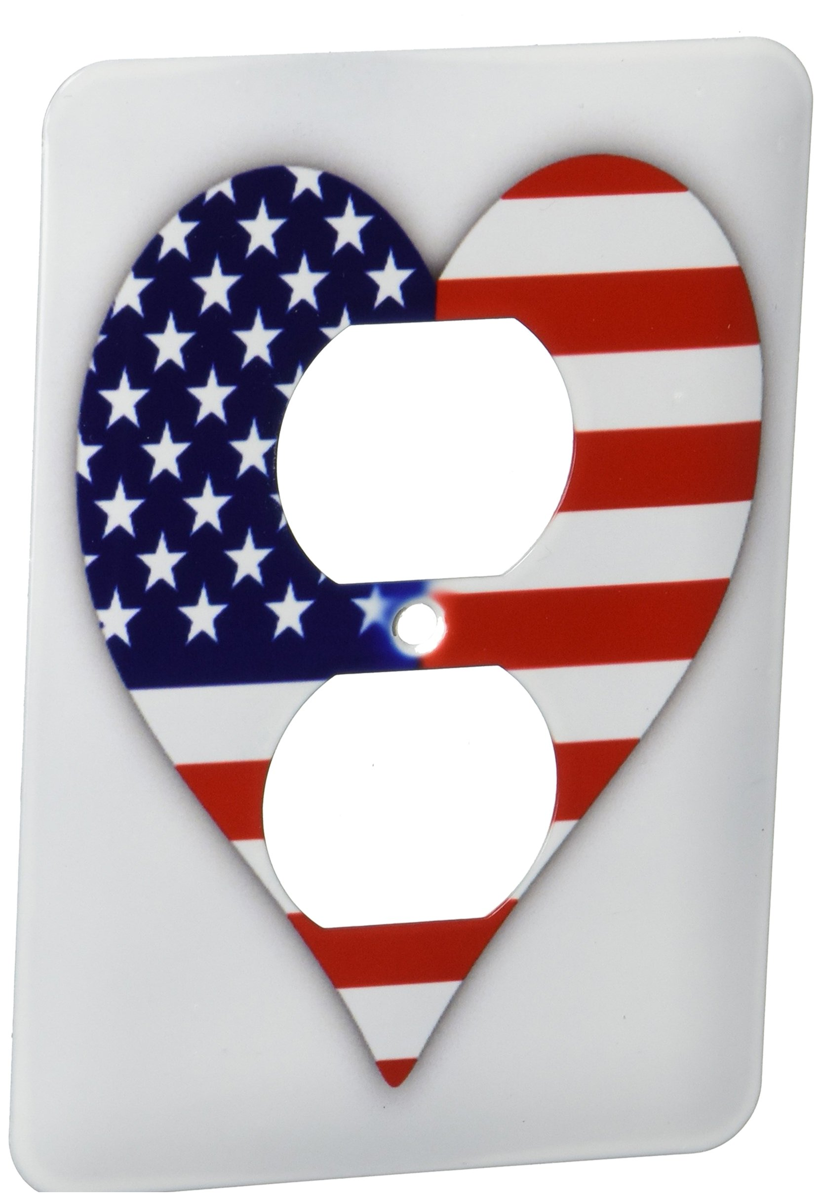 3dRose lsp_184871_6 American Flag Heart I Love America Patriotic Use July 4Th Gift 2 Plug Outlet Cover