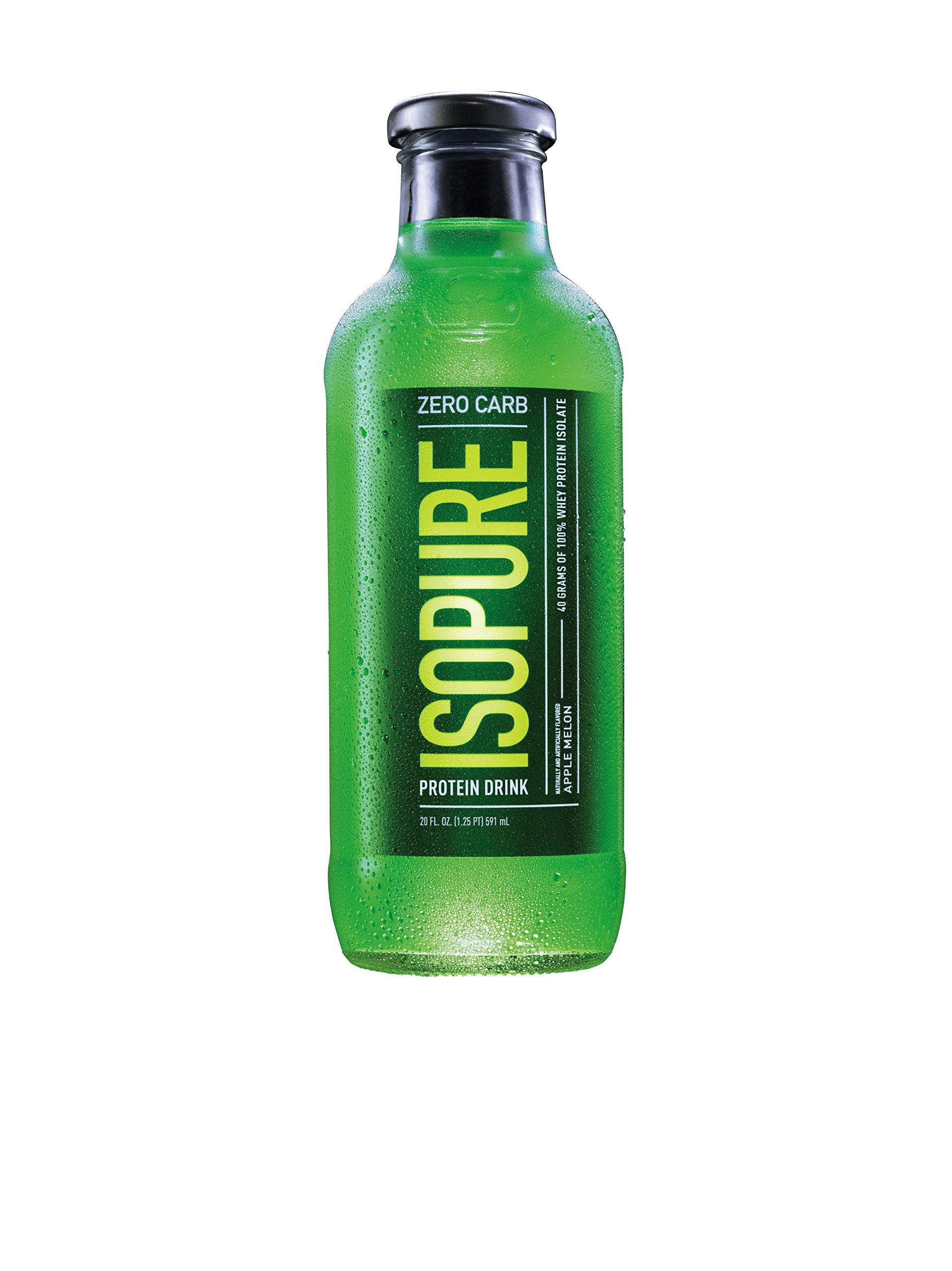 Isopure Zero Carb Protein Ready-To-Drink, Apple Melon, 20oz-12 Count.