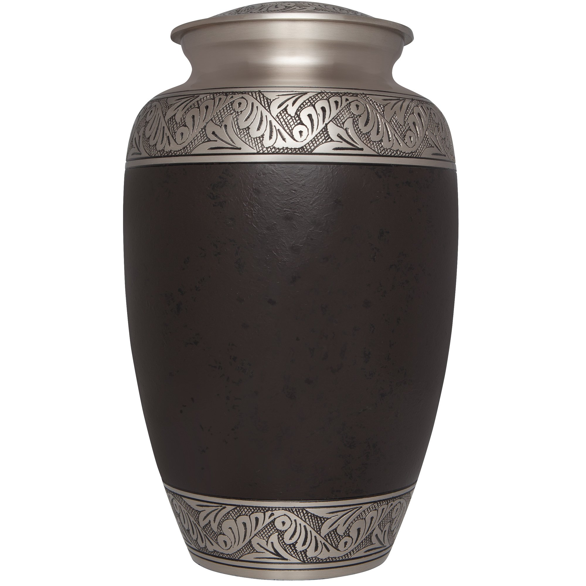 Brown Funeral Urn by Liliane Memorials - Cremation Urn for Human Ashes - Hand Made in Brass - Suitable for Cemetery Burial or Niche - Large Size fits remains of Adults up to 200 lbs - Ojaha Model