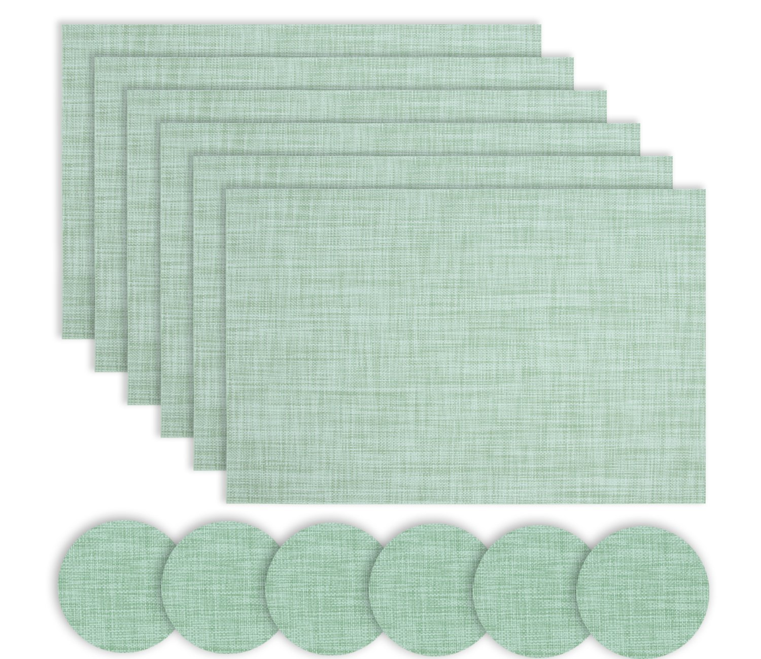 Homcomoda Vinyl Placemats set of 4 PVC Tablemats Washable Stain-resistant Place Mats Woven for Dinning Room