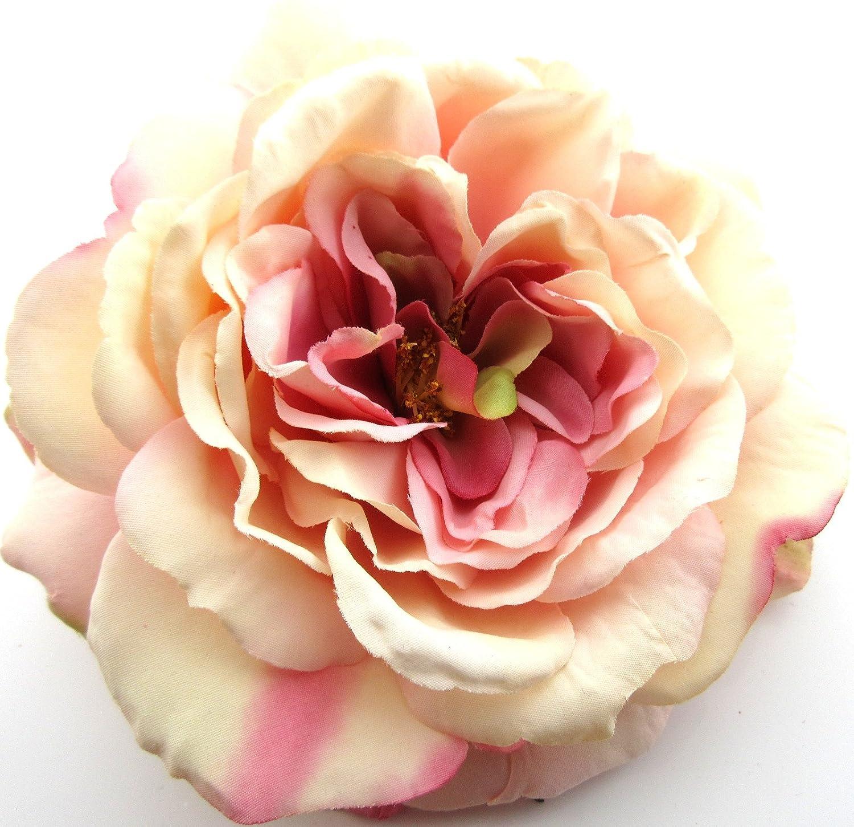 Full 5.5 Light Pink /& Cream Rose Silk Flower Brooch Pin with Locking Bale
