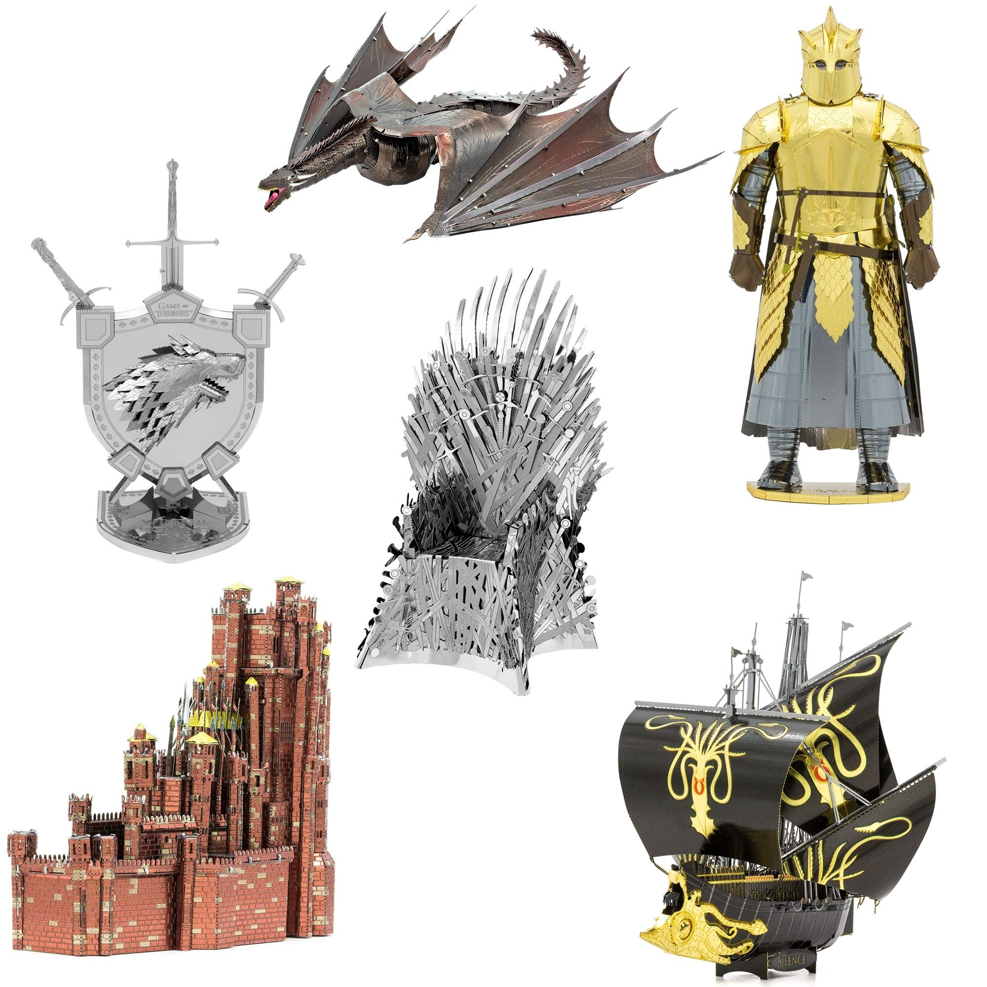 Fascinations Metal Earth ICONX 3D Metal Model Kits Game of Thrones Set of 6 - Red Keep - Silence - House Stark Sigil - Drogon - The Mountain - Iron Throne