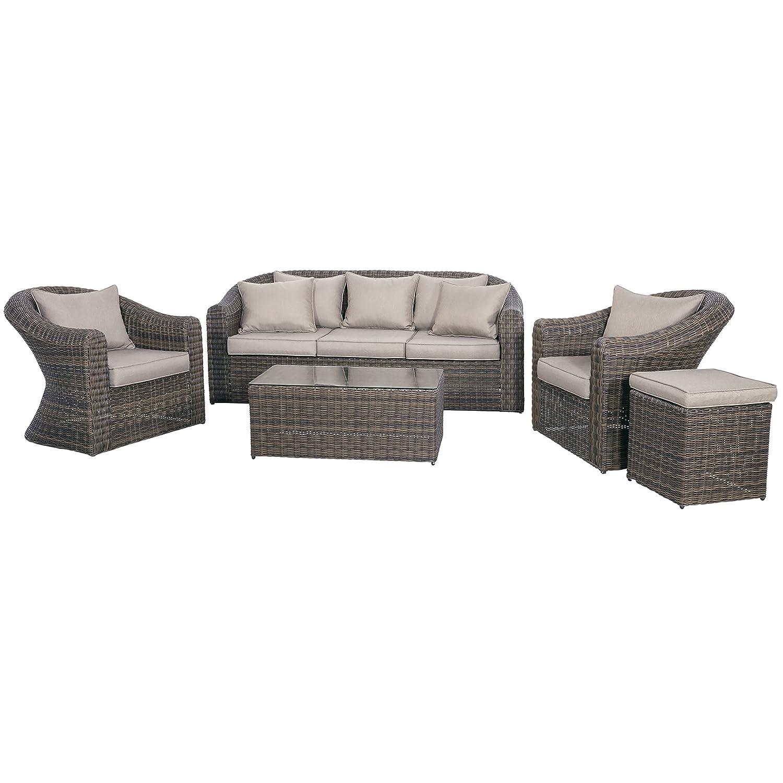 Loungeset Garten Sitzgarnitur Coco Marron 2 Sessel 1 Hocker 3Sitzer-Bank 1 Tisch mit Glasplatte