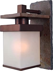 Kenroy Home 70283COP Boulder Lanterns, 1 Light Medium Wall, Natural Slate with Copper Finish