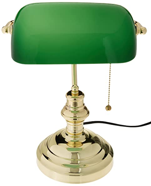 Lite Source LS-224PB Banker's Lamp, Polished Brass with Green ...