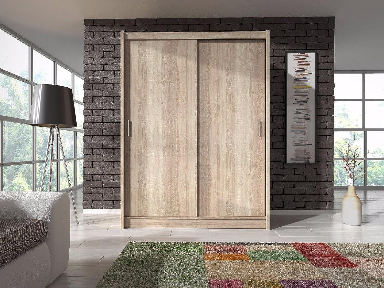 Sarah - Sliding 2 Doors Bedroom Wardrobe with Hanging Rail - White - 130cm Wide BMF