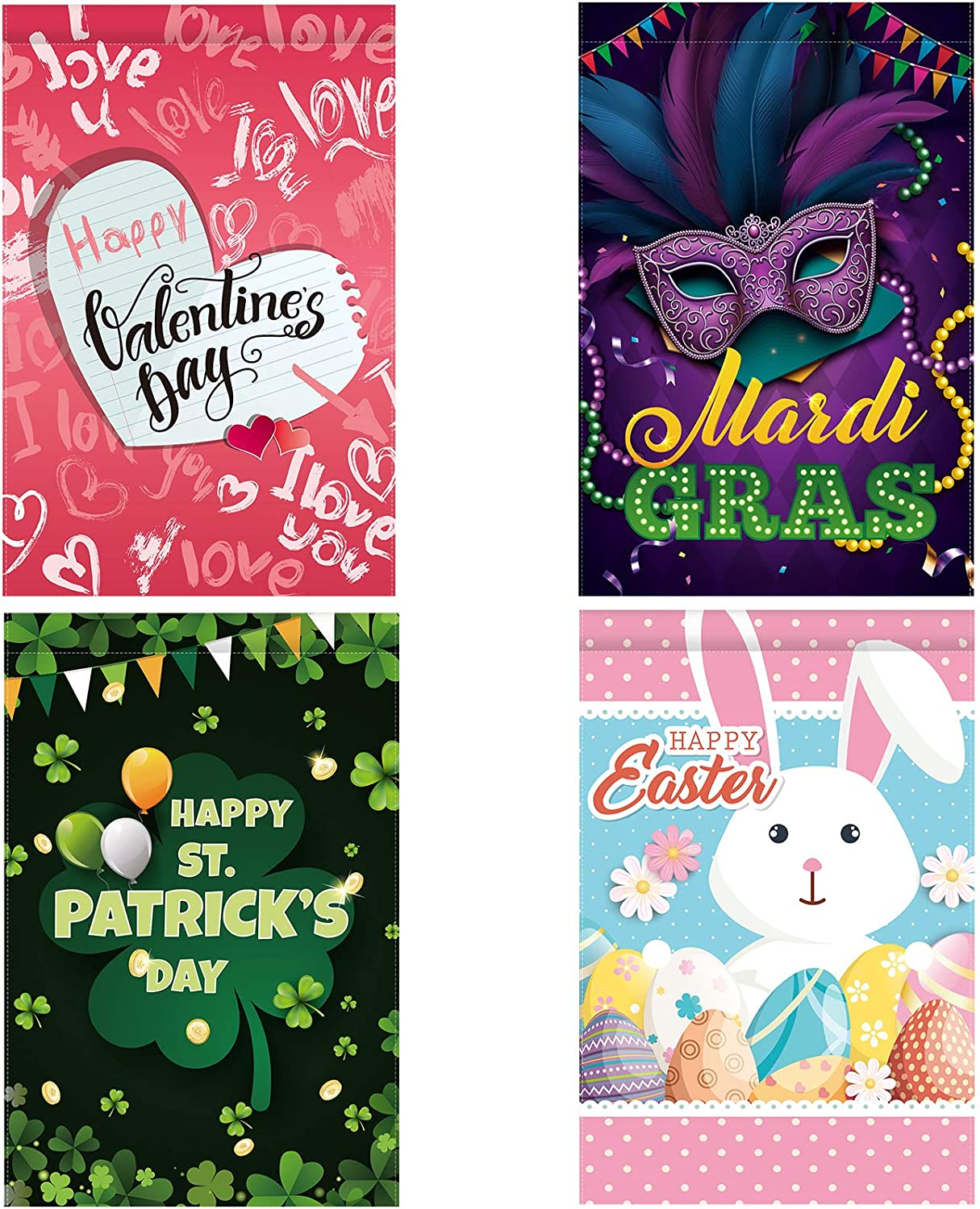 4 Pieces Seasonal Garden Flags Set for Mardi Gras St. Patrick's Easter Valentine's Day Holidays Yard Flags Double Sided Print House Flag Outdoor Garden Flags Decoration, 12 x 18 Inches