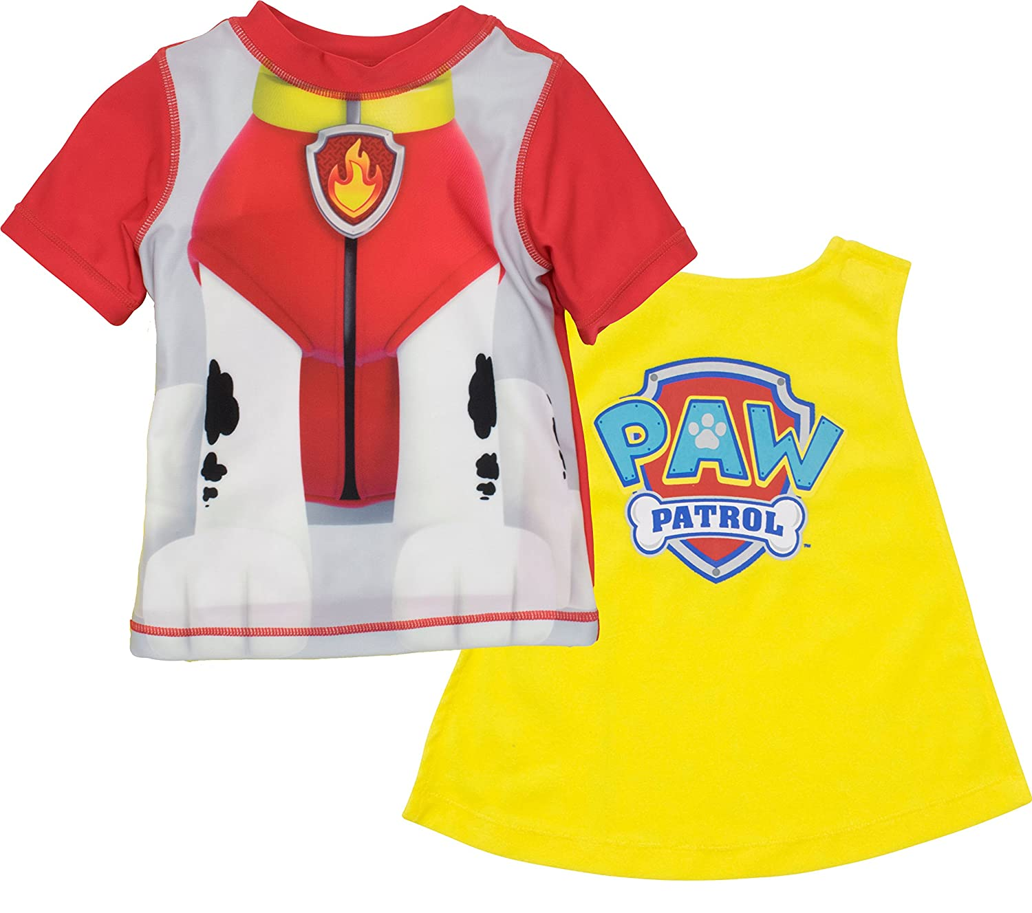 Nickelodeon Paw Patrol Boys' Swim Rash Guard & Caped Towel Set - Marshall, Chase