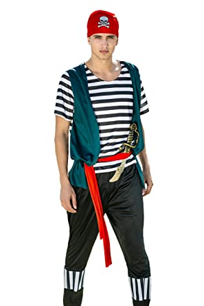 Adult Men Ruthless Pirate Halloween Costume Seven Seas Rogue Dress Up u0026 Role Play (Medium  sc 1 st  Amazon.com : pirates dressing up costume  - Germanpascual.Com